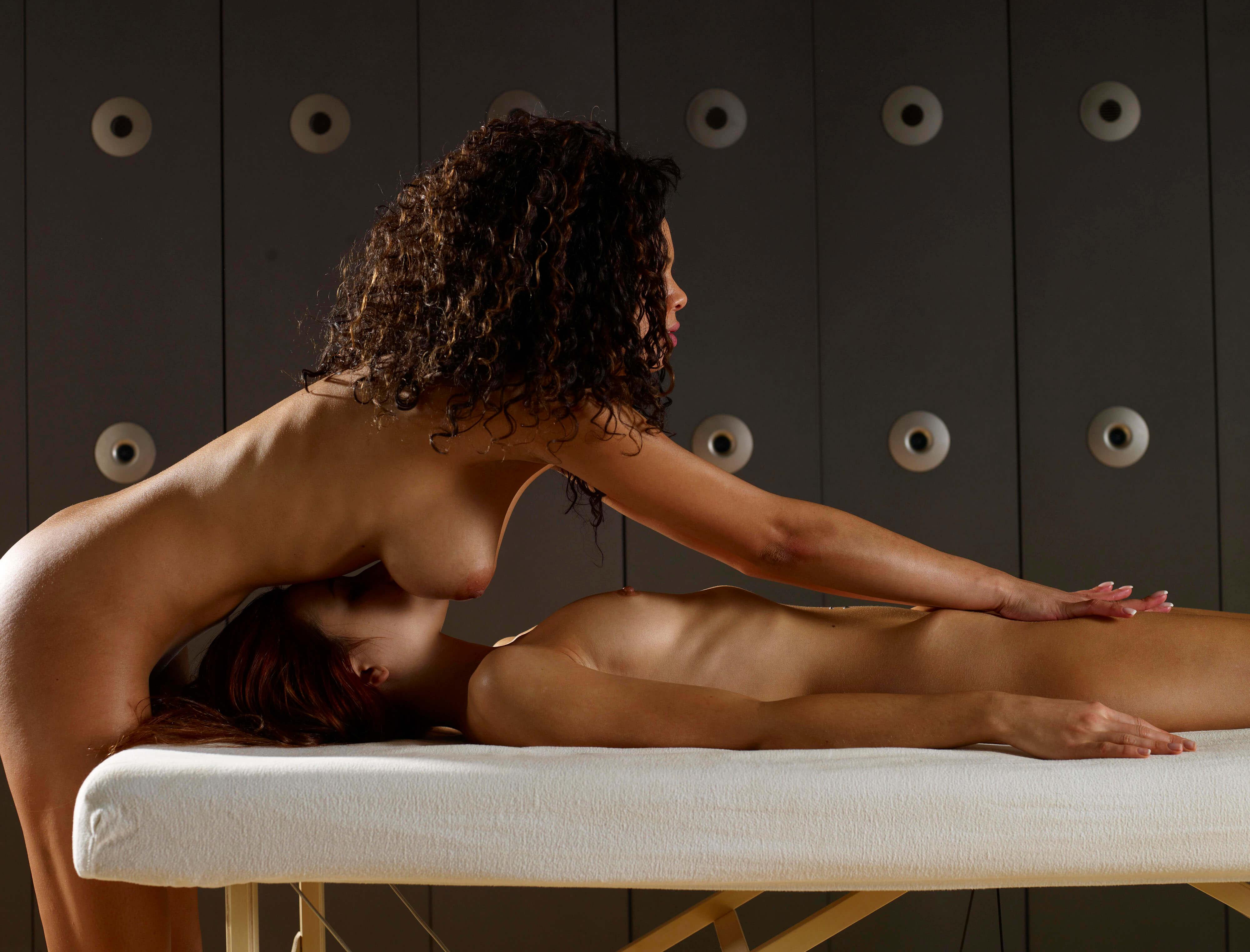 girls massaging each other